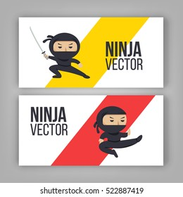 Set of ninja characters showing different actions. Serious ninja with sword. Flat style vector banner.