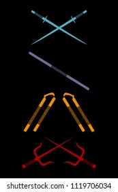 Set of ninja weapon isolated on black background. Katana, sword, stick, nunchaku, sai, dagger icon. Japanese traditional samurai arms. Vector flat illustration