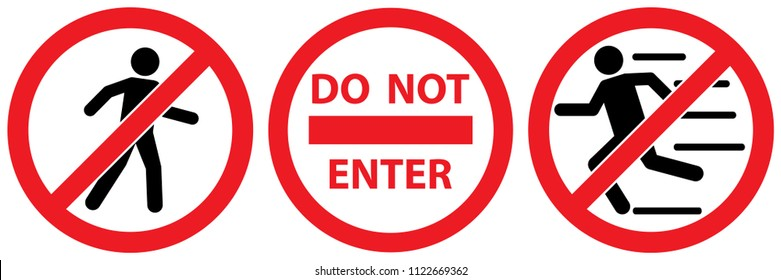 set no man walk and run sign ,do not enter isolated on white background,warning label vector eps 10.