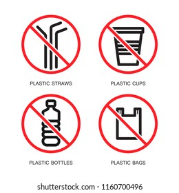 Set of no plastics sign. Save the earth and good environment concept. Simple design, stroke outline style. Line vector.