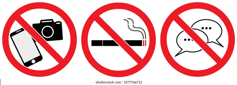 set no sign ,smart phone and camera, chat or speaking ,smoking isolated on white background,warning label vector eps 10.