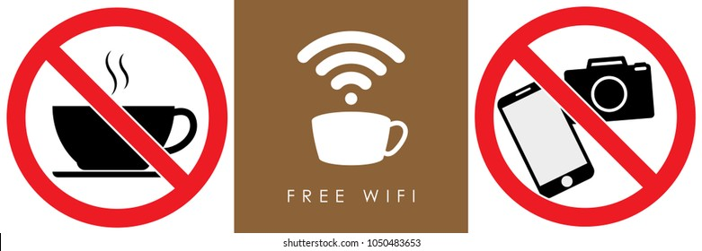 set no sign,food or drink coffee,free wifi,smart phone and camera  isolated on white background,warning label vector eps 10.