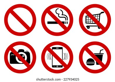 "set of ""No"" signs for different prohibited activities. No smoking, no drinking, no photographing, and other. Vector illustration - you can simply change color and size"