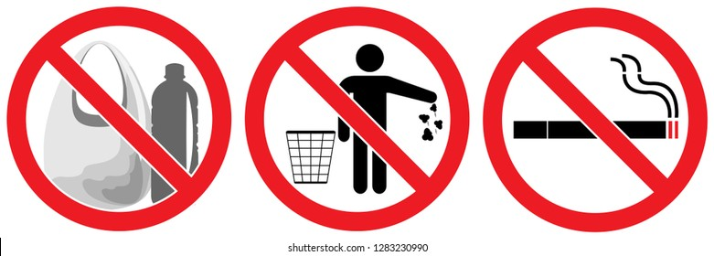set no signs ,Say no to plastic ,no litter,no smoking isolated on white background,warning label vector eps 10.
