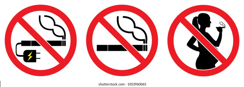 set no smokings sign , vaping ,smoking for pregnant woman isolated on white background illustration vector eps10.