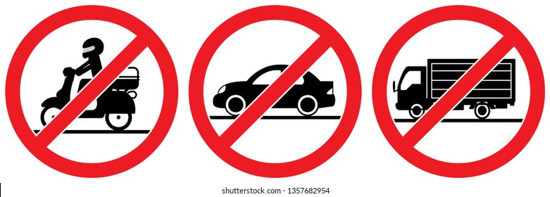 Set no vehicle sign,no motorcycle,no car,No truck transport signs isolated on white background,No parking?warning label vector eps 10.