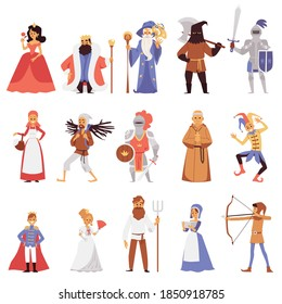 Set of noble and simple citizens of medieval age town, flat vector illustration isolated on white background. Medieval knights and ladies, peasants and poors.