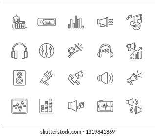 Set of noise Related Vector Line Icons. Includes such Icons as music, recording, composition, headphones, speakers, decibels, volume, bass, speaker, DJ, hearing, ear
