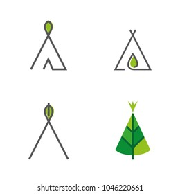 A set of nomad tent icons