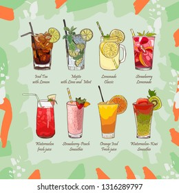 Set of non-alcoholic summer drinks. Classic and Strawberry Lemonade, Iced Tea, Mojito, Watermelon and Orange fresh, Watermelon-kiwi and Strawberry-Peach Smoothie. Menu sketch Vector Images