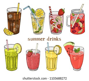 Set of non-alcoholic summer drinks. Lemonade and soda, strawberry and raspberry Mojito, watermelon fresh, banana and kiwi drink. Colorful vector illustration in sketch style.
