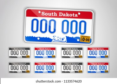 Set North Dakota auto license plate. Detailed object. Flat vector illustration