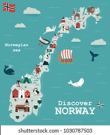 Set of Norway landmarks. Vector illustration