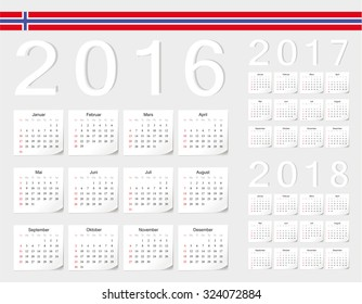 Set of Norwegian 2016, 2017, 2018 vector calendars with shadow angles. Week starts from Sunday.