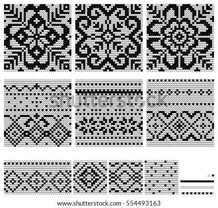 Set Norwegian Star Knitting Patterns Vector Stock Vector Royalty