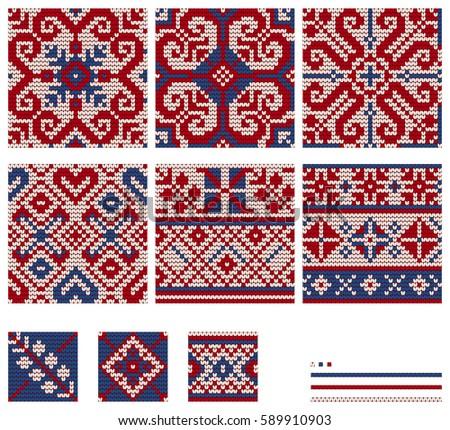Set Norwegian Star Knitting Patterns Stock Vector Royalty Free