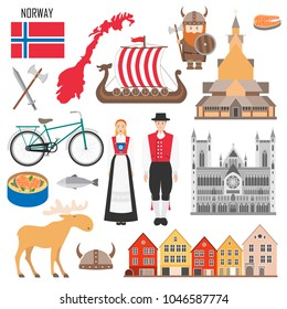 Set with Norwegian symbols: viking ship, flag of Norway, elk, costume, wooden church, salmon. Travel nordic elements in flat style. Vector illustration