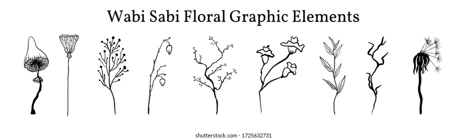 Set not perfect black graphic simple plants elements for your design. Silhouettes  branches,  mushroom,  old dandelion and lotus.  Illustration isolated on white. Hand drawing vector asia sign, symbol