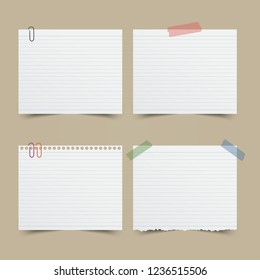 Set of note paper with tape and paperclip.Vector illustration.