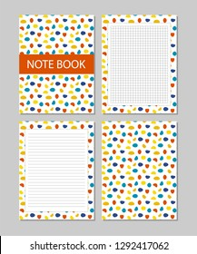 Set of notebook pages, cover design and page templates.Dots pattern, trendy design
