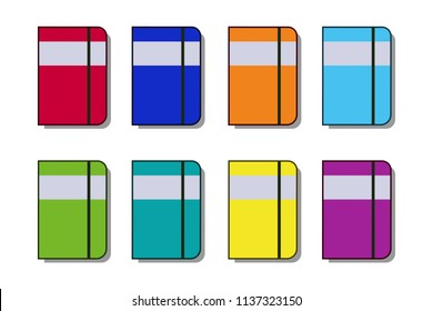 Set of notebooks in flat style with shadows. Moleskin collection Vector illustration