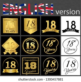 Set of number 18 years (eighteen years) celebration. Anniversary golden number template elements for your birthday party