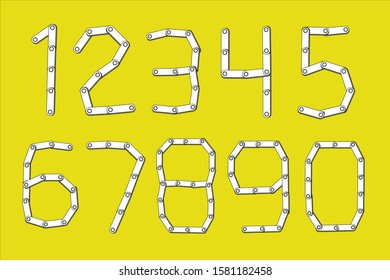 A set of number chain collection. Paper 2D graphic style