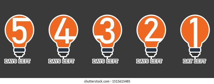 set of number days left countdown, can be use for promotion, sale, landing page, template, ui, web, mobile app, poster, banner, flyer, vector template