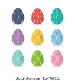 Set of number easter eggs with numbers vector illustration