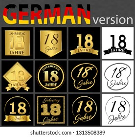 Set of number eighteen years (18 years) celebration design. Anniversary golden number template elements for your birthday party. Translated from the German - congratulation, years, anniversary