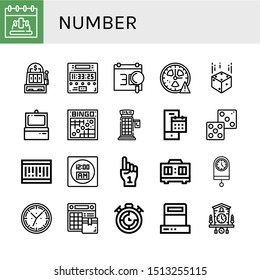 Set of number icons such as Calendar, Slot machine, Digital clock, Clock, Dice, Scanner, Bingo, Phone booth, Barcode, Foam hand, Timer, Cuckoo clock , number