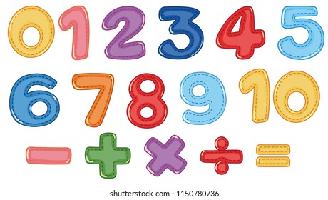 A set of number and math symbols illustration