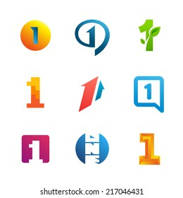 Set of number one 1 logo icon design template elements. Collection of vector signs.
