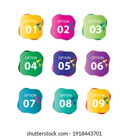 Set number option label vector temple design illustration