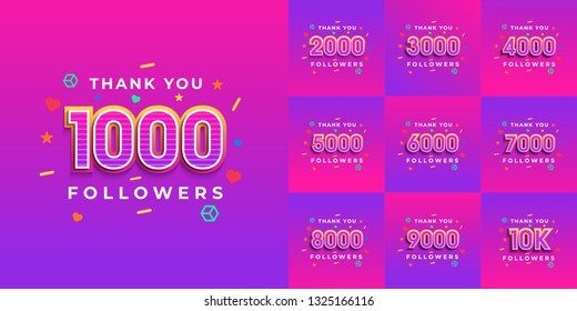 Set number of Thank you followers design.Thank you followers congratulation card. Vector illustration for Social Networks. Web user or blogger celebrates a large number of subscribers. - Vector