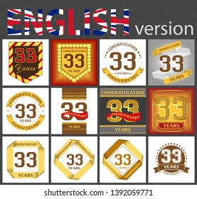 Set of number thirty-three years (33 years) celebration design. Anniversary golden number template elements for your birthday party