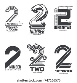 Set of number two logo templates. Black and white graphic number one logo templates, corporate identity. , vector illustrations isolated on white background.
