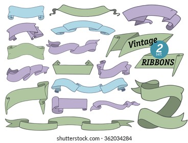 Set number two of vintage ribbon banners on white background, doodle hand drawn collection