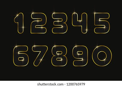 Set numbers 0, 1, 2, 3, 4, 5, 6, 7, 8, 9 for anniversary new year celebration signs Bronze style Gold sparkling texture Numbers with golden glitter effect on black background Vector illustration