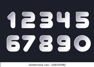 Set of numbers 0, 1, 2, 3, 4, 5, 6, 7, 8, 9 cuting paper for anniversary new year logo celebration signs Abstract papercut shapes Vector numbers paper cut in trendy modern minimalism style