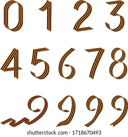 a set of numbers from 0 to 9 isolated vector on a white background of St. George's ribbons for the holiday of may 9