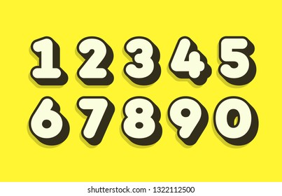 Set of numbers 3d bold style trendy typography consisiting of 1, 2, 3, 4, 5, 6, 7, 8, 9, 0 for poster, t shirt, book, sale banner, printing on fabric, birthday card. Modern font. Vector 10 eps