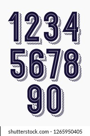Set of numbers 3d bold trendy typography style consisiting of 1, 2, 3, 4, 5, 6, 7, 8, 9, 10 for logo, poster, t shirt, book, sale banner, printing on fabric, birthday card. Modern font. vector 10 eps