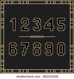 Set of numbers in Art Deco style. Black and gold numbers for t-shirt design. Vector digits.