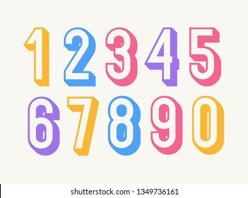 Set of numbers colorful 3d bold style trendy typography consisiting of 1, 2, 3, 4, 5, 6, 7, 8, 9, 0 for poster, tshirt, book, sale banner, printing on fabric, birthday card. Modern font. Vector 10 eps