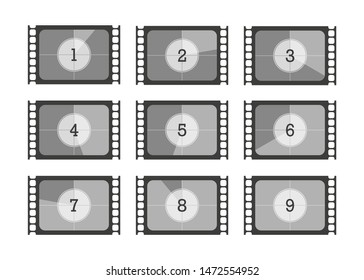 set numbers countdown movie in flat style, vector