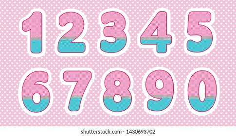 Set of numbers in doll style. Baby design. Bright pink, cream colors. Polka dot pattern