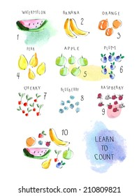 Set of numbers with fruits and berries. Learn to count. Cute childish illustrations in vector. Easy to learn figures with fun. Isolated on a white background.