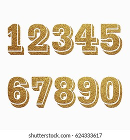 Set of numbers with golden glitter effect, figures isolated on white background. Vector illustration.