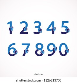 Set  numbers handshake. Vector blue numbers. 1, 2, 3, 4, 5, 6, 7, 8, 9, 10, logo design. Flat style, isolated on white background.